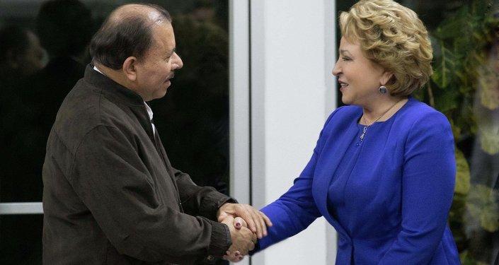 Presidente de Nicaragua, Daniel Ortega y presidenta del Consejo de la Federación (Senado) de Rusia, Valentina Matvienko