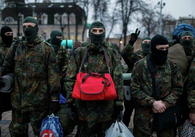 Los nuevos voluntarios para el batallón del Ministerio del Interior de Ucrania Azov