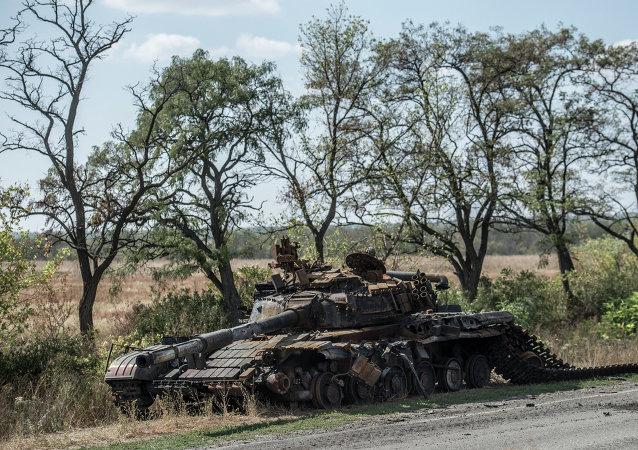 Tanque en Lugansk