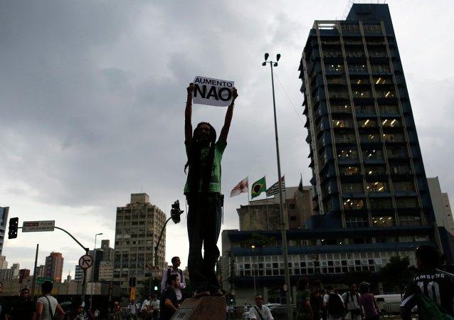 Manifestación del Movimento Passe Livre en Sao Paulo