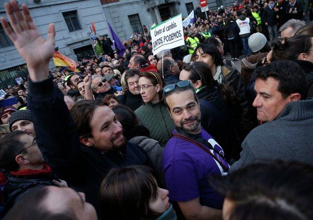 Pablo Iglesias, secretario general de Podemos en la Marcha por el Cambio