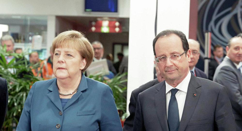Ángela Merkel, canciller de Alemania y François Hollande, presidente de Francia (Archivo)