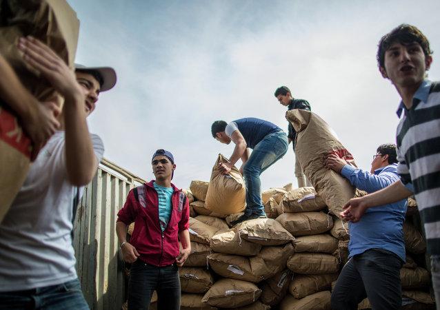 Descarga de la ayuda humanitaria rusa en Siria (archivo)