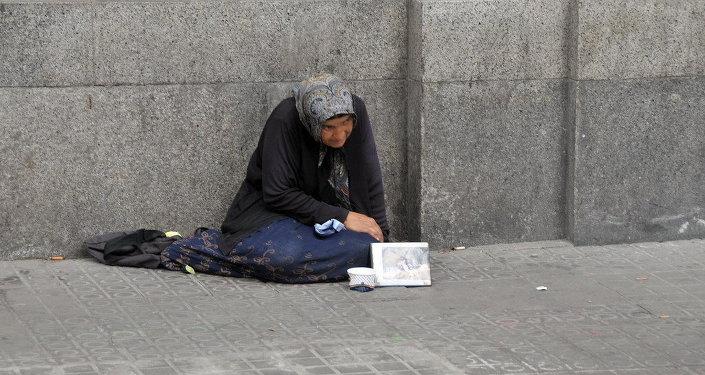 Una mendiga en Barcelona