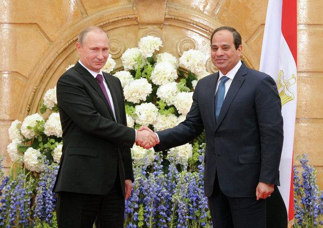 Presidente de Rusia, Vladímir Putin y presidente de Egipto, Abdelfatah al Sisi