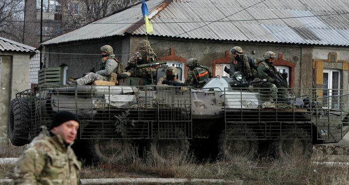 Soldados ucranianos cerca de Debáltsevo