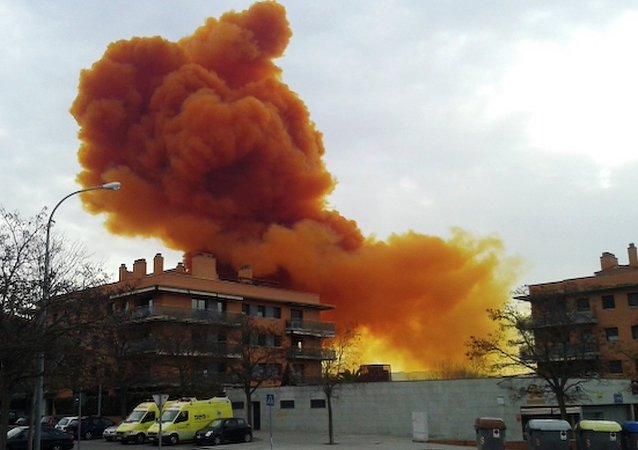 Nube tóxica en una zona próxima a Barcelona