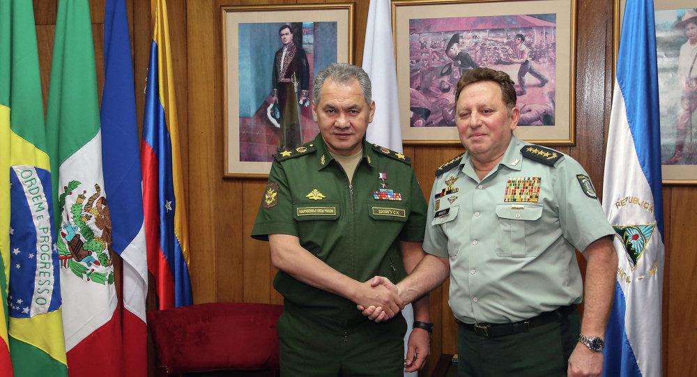 Ministro de Defensa de Rusia, Serguéi Shoigú y comandante del Ejército de Nicaragua, Julio César Avilés