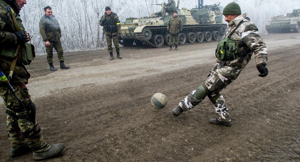 Militares ucranianos cerca de Debáltsevo