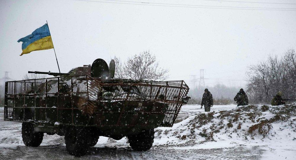 Soldados ucranianos cerca de la ciudad de Debáltsevo