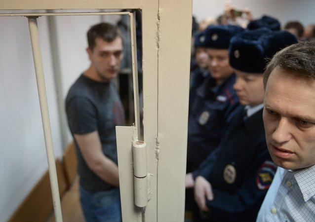 Alexéi Navalni en el Tribunal Zamoskvoretski de Moscú (30 de dic. de 2014)