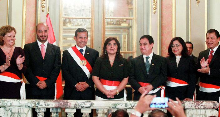 Ollanta Humala, presidente de Perú, y su nuevo equipo de Gobierno