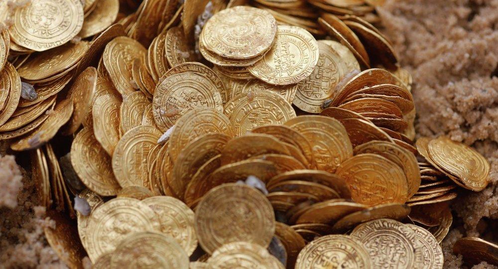 Monedas de oro encontradas en Israel