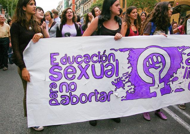 Manifestación en Madrid por el aborto libre, convocada por el Movimiento Feminista. Viernes 27 de septiembre de 2013.