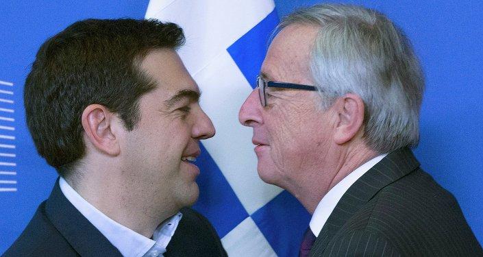 Primer ministro de Grecia, Alexis Tsipras y presidente de la Comisión Europea, Jean-Claude Juncker