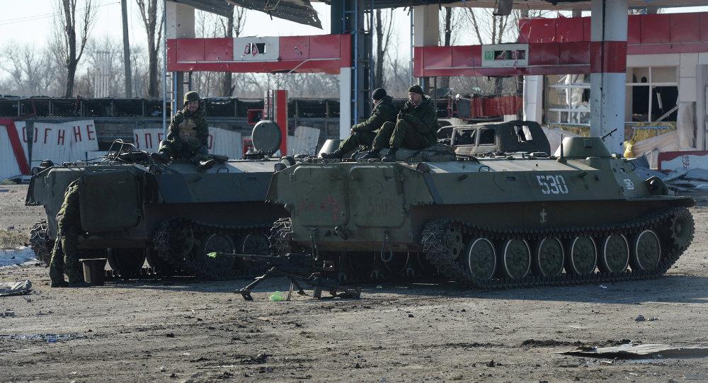 Milicianos en Debáltsevo