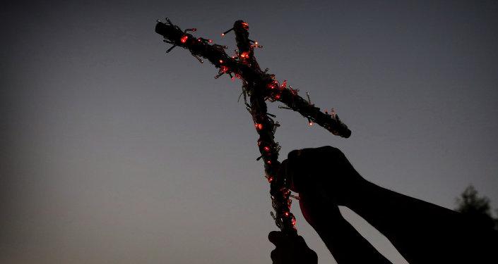 Cristianos iraquíes huidos de Mosul se preparan para una fiesta religiosa en Erbil, capital del Kurdistán iraquí