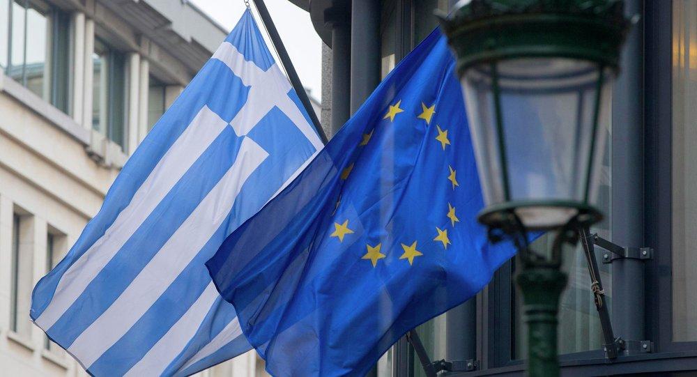 Banderas de Grecia y la Unión Europea