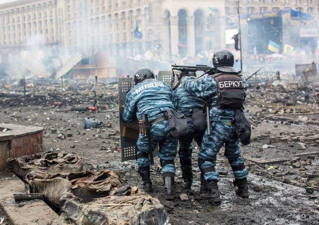 Policía antidisturbios Berkut en Maidan de Kiev, febrero de 2014