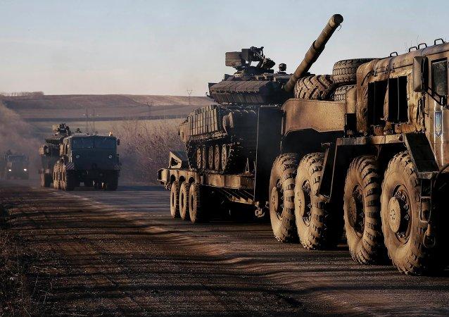 Camiones militares de las fuerzas armadas ucranianas