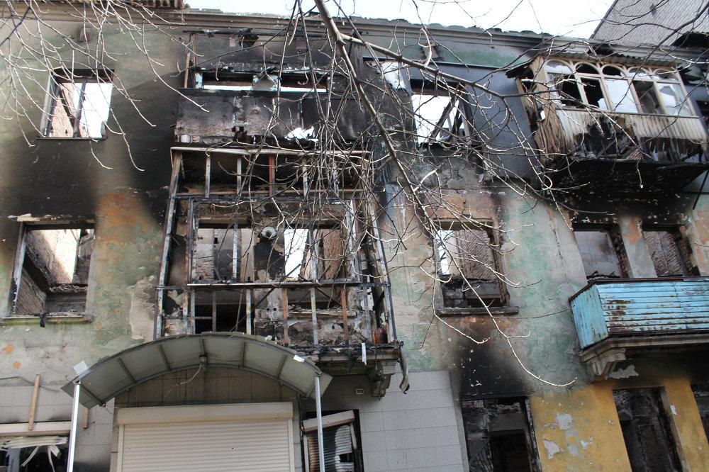 Una vivienda en Debáltsevo destruida durante los bombardeos