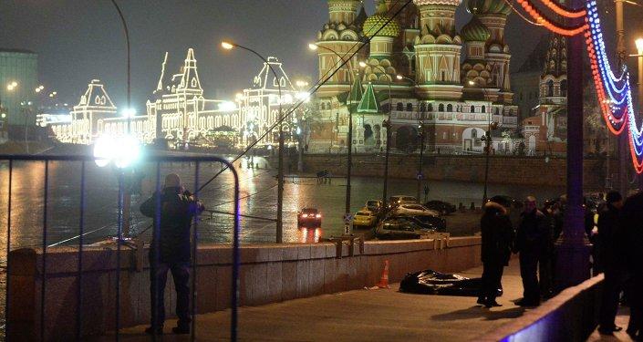 Lugar del asesinato del opositor ruso Borís Nemtsov en Moscú