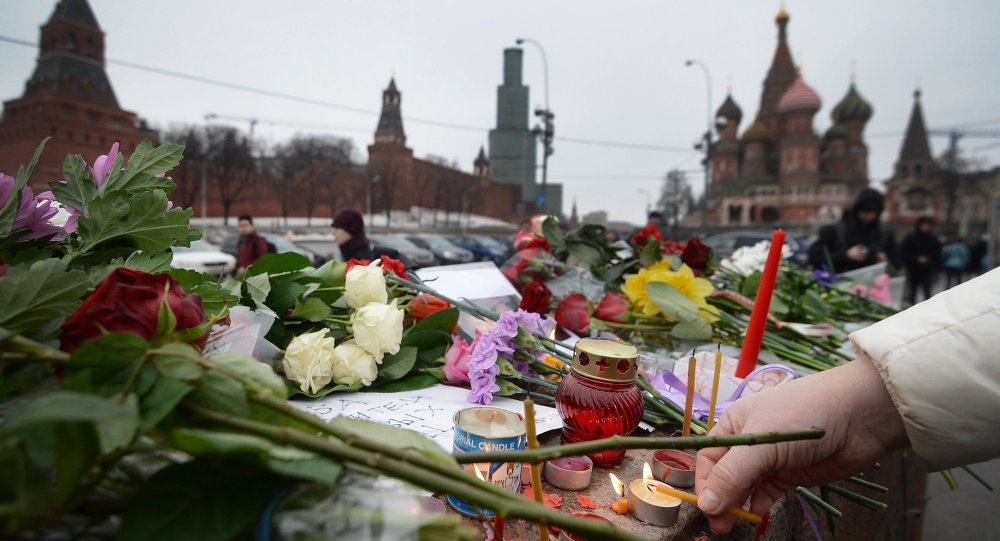 Flores en el lugar del asesinato de Borís Nemtsov (archivo)