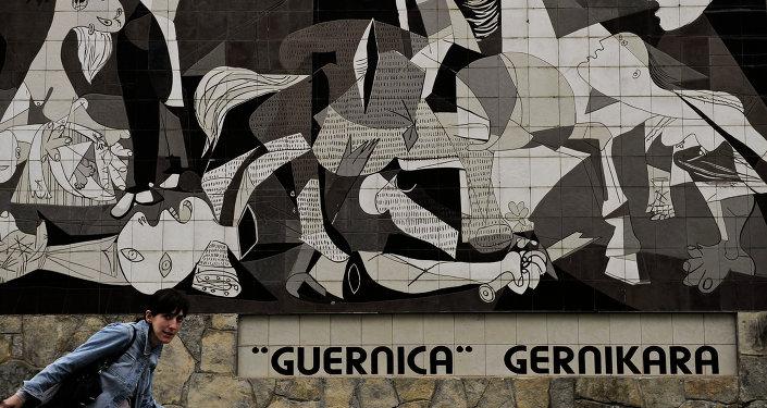 'Guernica', cuadro de Pablo Picasso, pintada en un muro