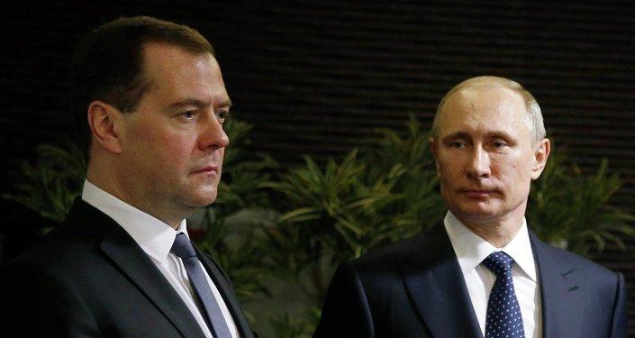 Primer ministro de Rusia, Dmitri Medvédev y presidente de Rusia, Vladímir Putin
