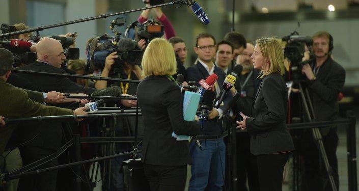 Federica Mogherini después de la reunión informal de titulares de Exteriores de UE en Riga