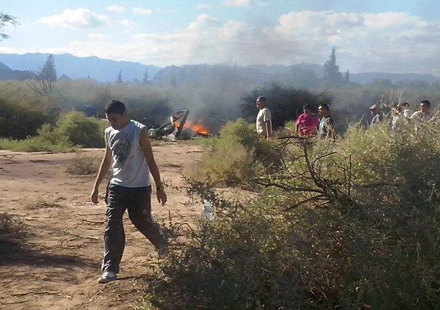 Lugar del accidente de helicópteros en La Rioja, Argentina
