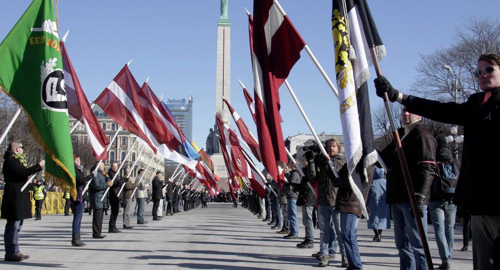 Marcha de los ex legionarios de las Waffen SS en Riga (archivo de 2013)