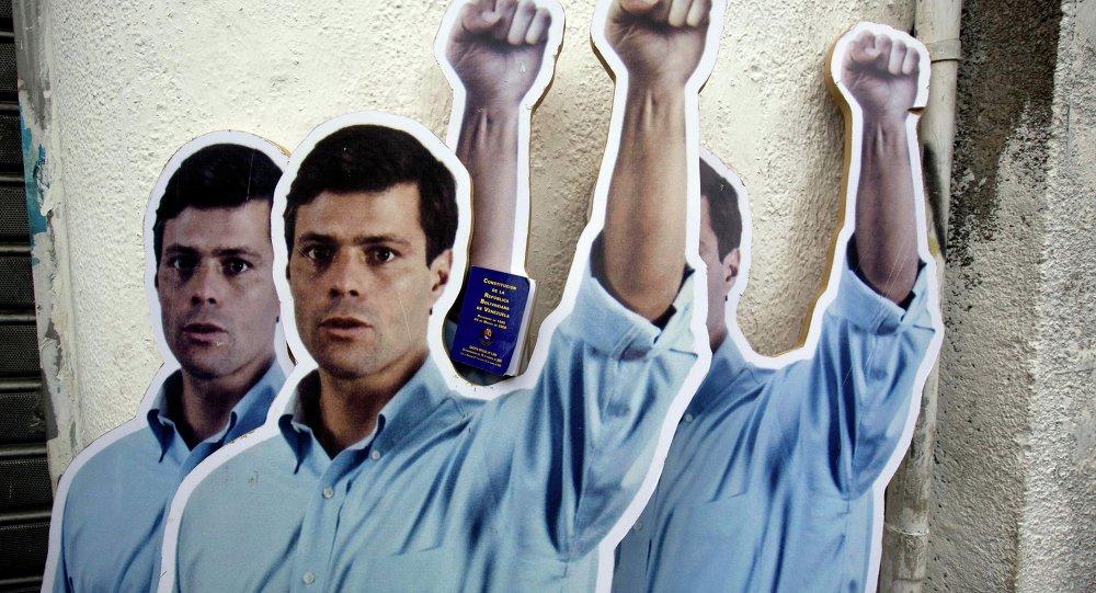 Cartón de tamaño natural de líder opositor venezolano Leopoldo López