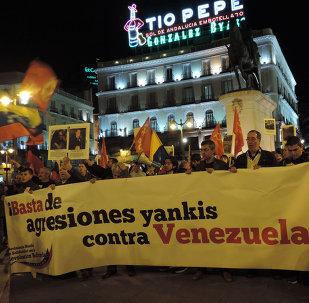 Protesta en Madrid contra las sanciones de EEUU a Venezuela