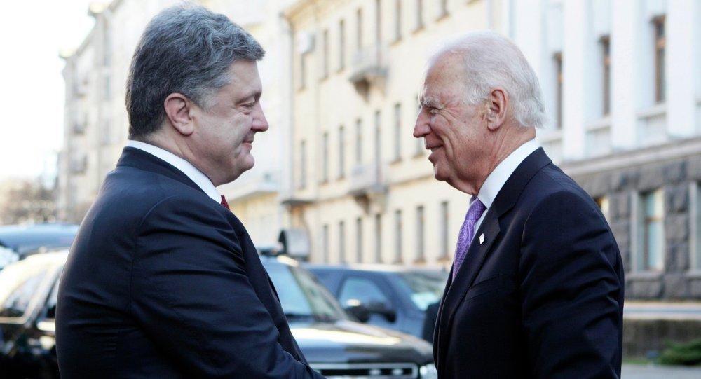 Presidente de Ucrania Petró Poroshenko, y vicepresidente de EEUU Joe Biden (Archivo)