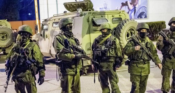 Militares rusos en Sevastópol, Crimea