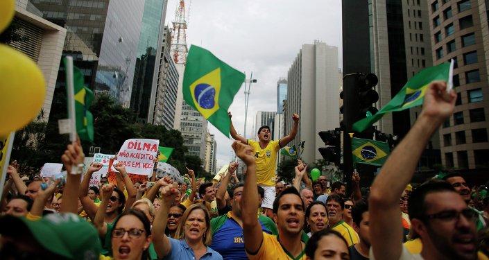 Manifestantes en la Avenida Paulista de Sao Paulo