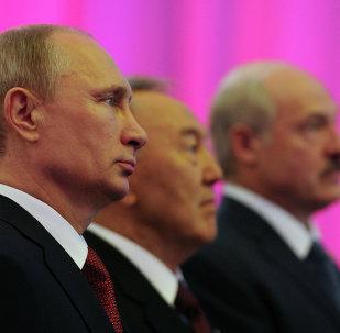 Presidente de Rusia, Vladímir Putin,  presidente de Kazajistán, Nursultán Nazarbáev y presidente de Bielorrusia, Alexandr Lukashenko,