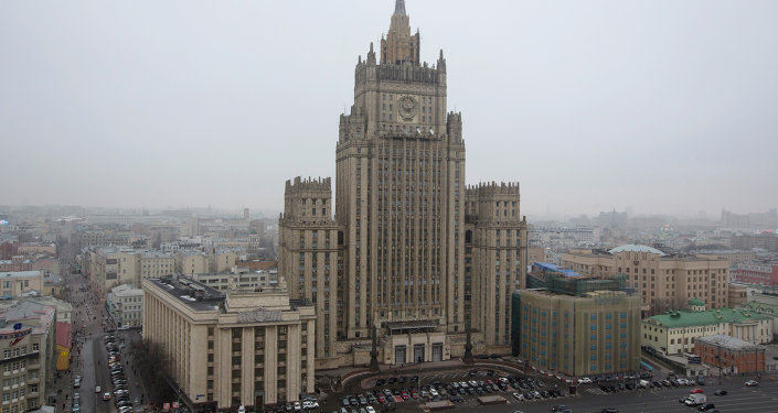 View of the Russian Foreign Ministry building in Moscow, Russia, Sunday, March 1, 2015.