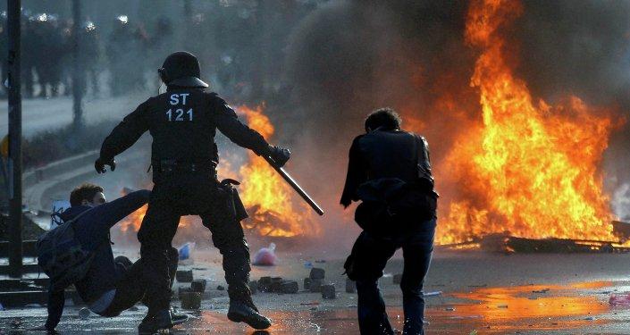 Protestas frente a la nueva sede del BCE en Fráncfort