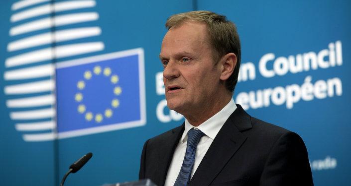 Presidente del Consejo Europeo, Donald Tusk, en una conferencia de prensa en cumbre de líderes de la Unión Europea en Bruselas