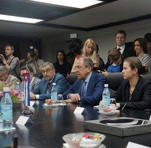 Ministro de Asuntos Exteriores de Rusia, Serguéi Lavrov, durante su visita a Cuba
