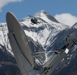Helicóptero en el lugar del siniestro del avión A320 de Germanwings