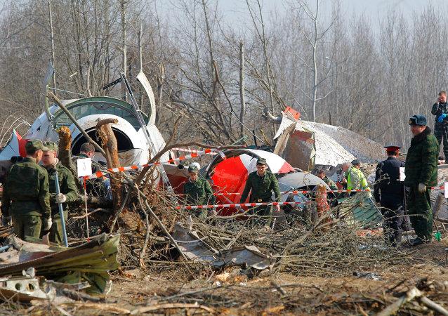 Restos del avión ruso Tu-154 del presidente polaco (archivo)