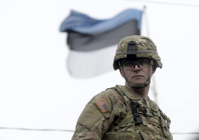 Soldado estadounidense en Estonia