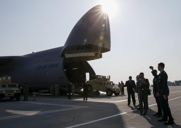 Avión estadounidense con la ayuda militar a Kiev en el aeropuerto ucraniano de Boríspol