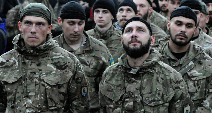 Combatientes del grupo nacionalista Pravy Sektor (Archivo)