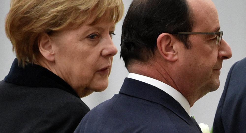 Angela Merkel, canciller de Alemania, y François Hollande, presidente de Francia