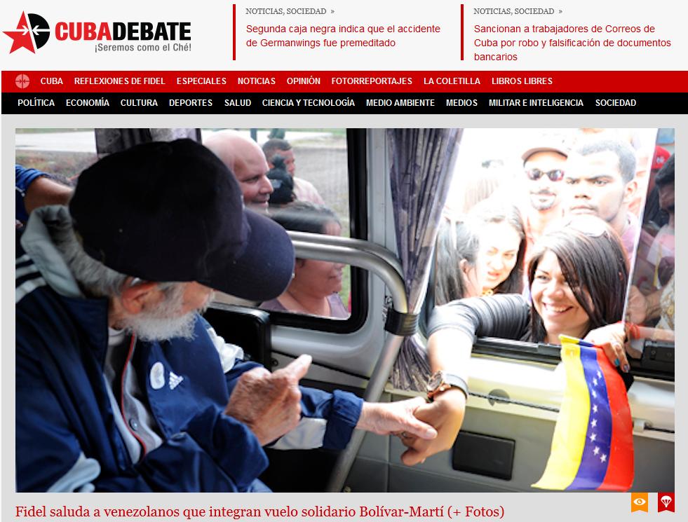 Página principal de Cubadebate con la foto de Fidel Castro