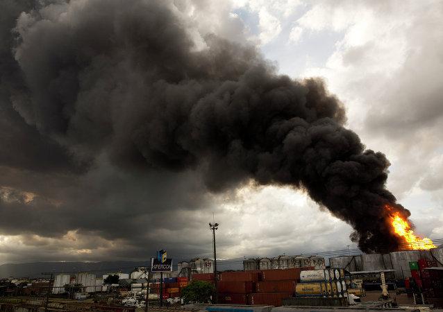 Incendio en Santos